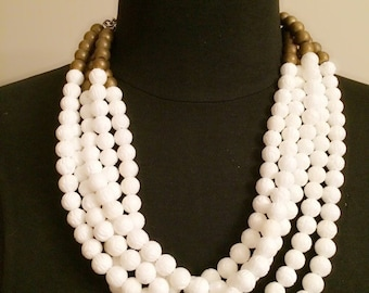 Muli-Strand Bead Necklace - White & Gold