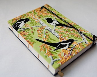 Handmade journal diary, magpies and silverbirch