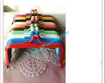 10pieces-10.5cm(4 inch) rainbow colors baking-varnish rectangle metal bag frame purse frame (10colors)