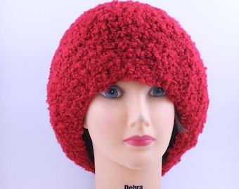 Mütze, Boucle, zusätzliche slouchy Lipstic rote Mütze