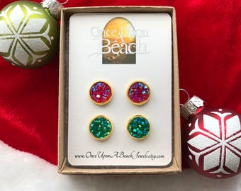 SALE - CHRISTMAS Earring Set, Faux Druzy Earrings, 10mm Druzy