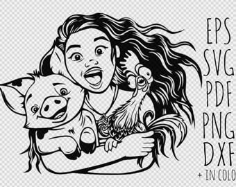 Moana Svg, Moana Cliparts, Moana Printable, Baby Moana Svg, Disney Moana, Hei Hei Svg, Cricut , Digital Item, Instant Download
