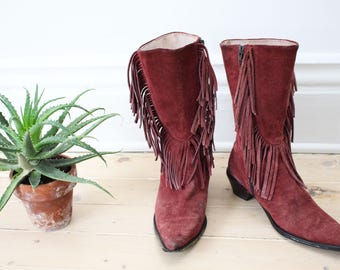 Vintage 70s Fringe Boots - Suede, Brown, Western Boots, Boho, Music Festival Shoes, Burning Man, Mid Calf