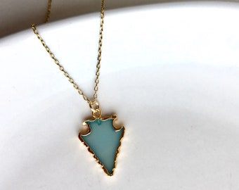 Chalcedony Arrowhead Oil Diffuser Necklace