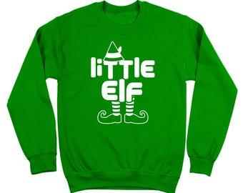 Little Elf Xmas Christmas Holidays Funny Family Santa Crewneck Sweatshirt DT2115