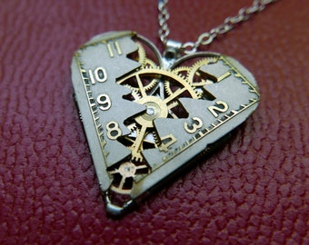 "Elegant Deconstructed Watch Dial Heart Necklace ""Moreland"" Pendant Clockwork Mechanical Gear Love Gift Wife Girlfriend Birthday Gift"