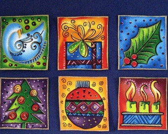 Set of Six Holiday Appliques*Handmade*Gorgeous Laurel Burch Fabric/129