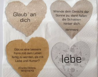 paper hearts with poems in German no. 20 napkins   3439