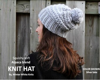 Alpaca blend knit hat, knit grey hat, Chunky knit winter hat, pom pom knit hat, slouchy knit hat, knit beanie hat
