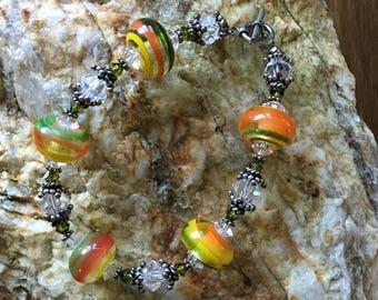 "Orange Blossom Special - 8"" Bracelet in Lampwork, Swarovski Crystal, & Balinese Silver Beads"