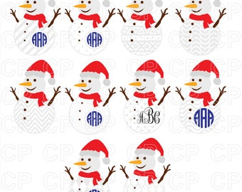 Snowman SVG Cut Files, Christmas SVG, Snowman Clipart, Snowman Monogram Frames Cut Files for Cricut, Silhouette Studio_Digital Download