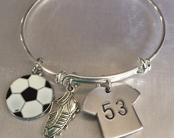 Soccer bracelet with cleat soccer ball and hand stamped jersey-personalized soccer bracelet-soccer adjustable bracelet