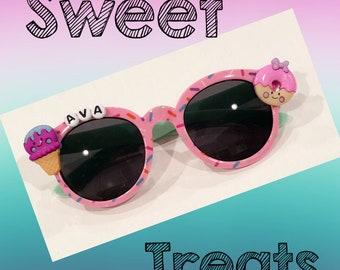 sprinkles donuts ice cream personalized sunglasses toddler girls babies bedazzled birthday gift kids shades party favor summer big sister