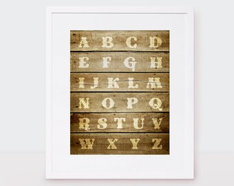 rustic alphabet - 10x8 print - nursery art new baby boy or girl gender neutral typography letters western country wooden - faux wood