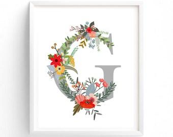 Letter G Printable Letter, Nursery Decor, Nursery Prints, Nursery Art, Letters, Monogram Floral Letter, Baby Girl Nursery