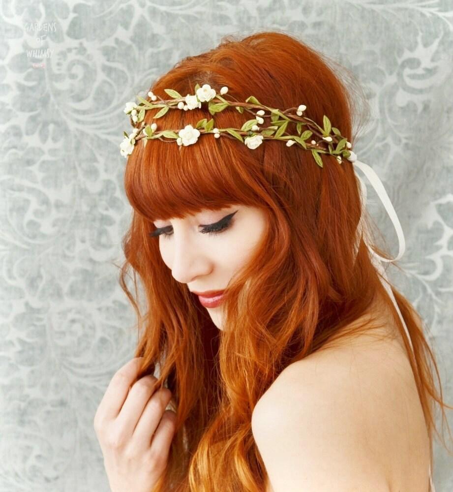 boho bridal headpiece ivory flower crown floral crown