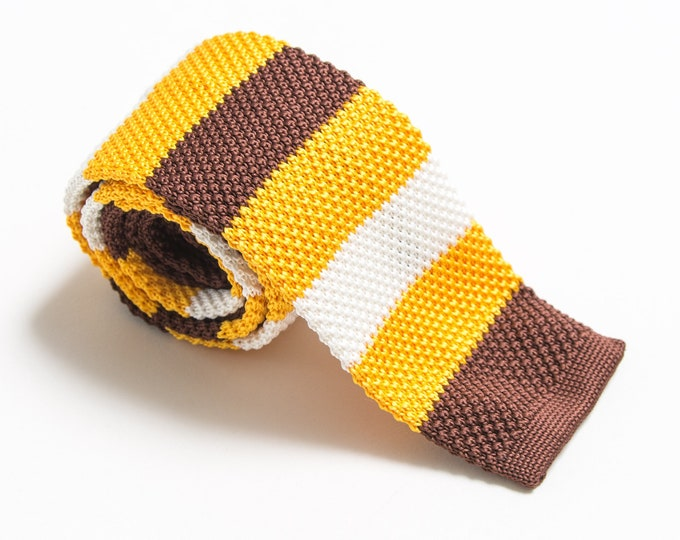 """The """"New Old Fashioned"""" Striped Knit Tie."""
