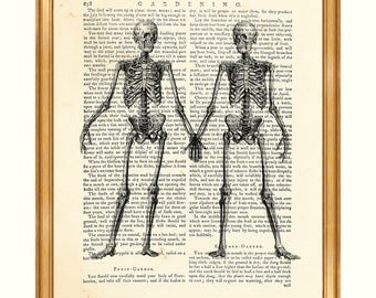 Anatomy Art, Anatomy Gift, Anatomy Print, Skeleton Couple, Vintage Art, Anatomy, Human Body Drawing, DICTIONARY ART PRINT, Medical Wall Art