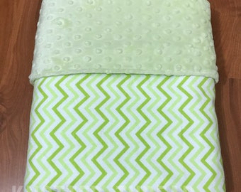 READY TO SHIP - Green Chevron - Personalized Name Blanket - Baby shower - Baby gift - newborn
