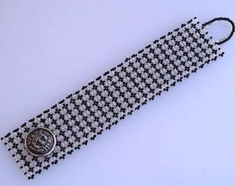 Button cuff in black and silver Wide beadwork bracelet with real vintage button Super duo bracelet with a button Made in Israel art B326