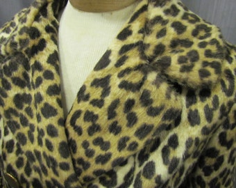 1960s Mod, Gorgeous Faux Fur Leopard/Cheetah Print Jacket, Excellent Condition