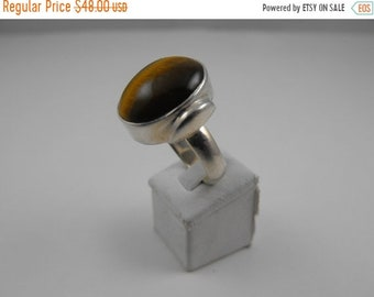 TAX Season Sale Tiger's Eye Oval shaped Sterling Silver Statement Ring