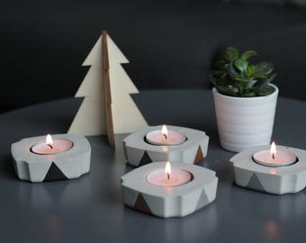 Scandinavian Concrete candle holder square triangle nordic decoration