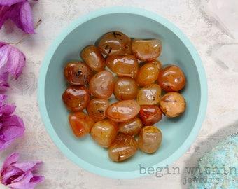 Red Carnelian Stone | Carnelian Tumbled  Crystal | Wicca Crystal