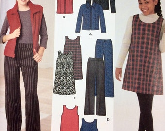 Simplicity 4839, Girls' Jacket, Vest, Pants, Jumper Pattern, Size 7-16, Uncut Pattern