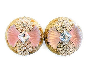 Vintage Art Deco Style Camphor Crystal Clip Earrings