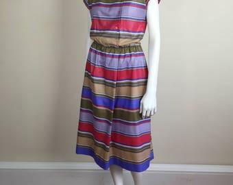 striped polished cotton day dress w/ pockets 80s
