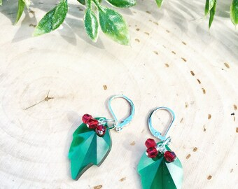 Christmas Swarovski Holly Leaf And Berry Earrings------------------------Limited Edition