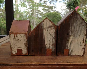 Set of 3 Rustic Recycled wood Little Houses.
