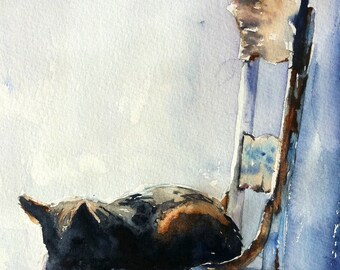 Baby the Black Cat taking a Nap Print of my Original Water Color