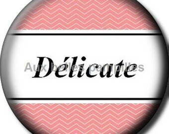 Round stick cabochon resin 25 mm - delicate (1355) - Word, text, fashion, fashion