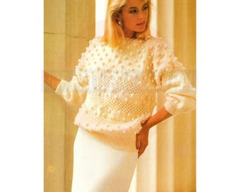 80s Evening Bobble Knit Top with Three Quarter Length Sleeves, Knitting Pattern Bust Size 75-100 cm, Instant Download PDF, 3 pages