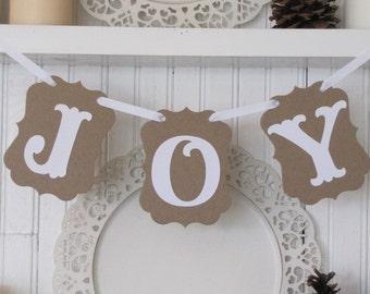 JOY  Banner, Christmas sign, Tree decoration, Christmas Decoration, Joy Sign