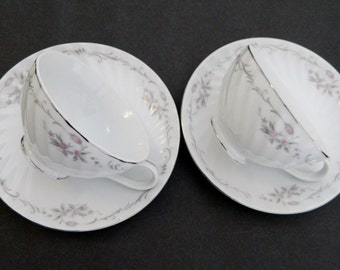 Gold Standard Genuine Porcelain China 2 Footed Cup Saucer Sets Pink Rose Japan