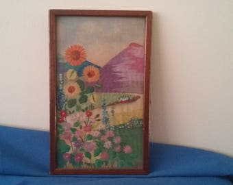 Stunning Hand Worked Vintage Flowers Landscape Embroidery
