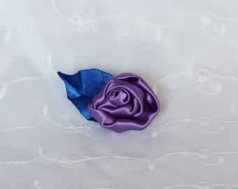 Purple flower and leaf blue crocodile hair clip