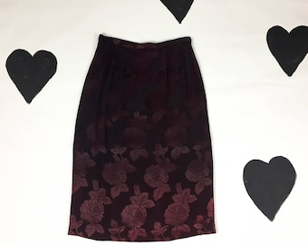 80's romantic black red satin rose skirt 1980's burgundy goth faded black floral burnout silky rayon pencil skirt / high 27 waist size M S