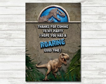 Jurassic World Thank You Cards, Jurassic World Party, Jurassic World Printable Thank You Cards