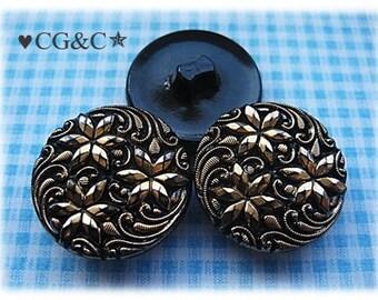 Czech Black & Gold Buttons