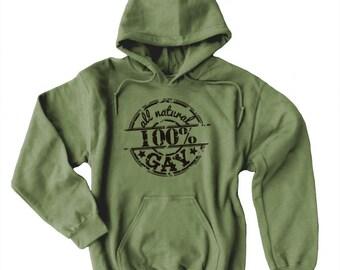Gay Hoodie - All Natural Gay - pride hoodie lesbian cute gay pullover gay pride design cute pride sweatshirt