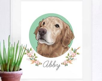 Pet Portrait, pet portrait print, custom pet portrait, unique gifts, funny gifts, dog art, dog poster, cat poster, pet poster,pet memorial