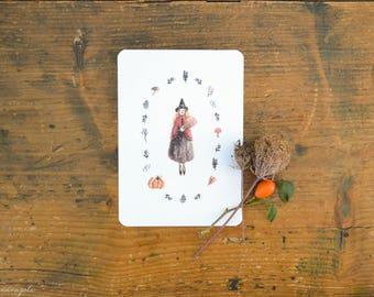 Autumn Witch cartolina acquerello autunnale con zucca, funghi, foglie e una piccola strega