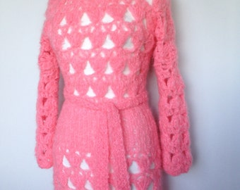 Handmade one of a kind high fashion knitted bright pink vintage flower power boho dress