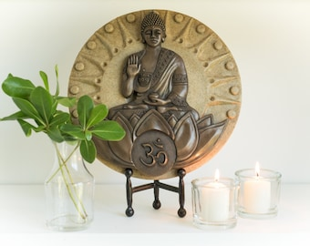Buddha: The Awakened One. Cold-cast BRONZE & STONE infused resin 2-layer relief sculpture/plaque..