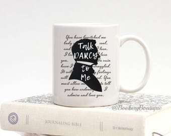 Bookworm for Her, Jane Austen Gifts, Bookish Items, TALK DARCY to ME, Funny Mugs, Mr Darcy, Pride and Prejudice, Book Quote, Librarian Gifts