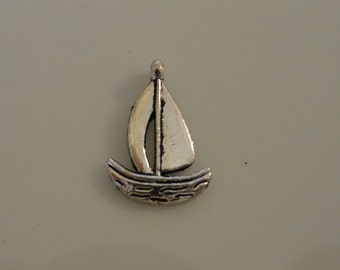 CLEARANCE Sail Boat Charm (24) Antique Silver Finish Tibetan Style 1/2 Inch